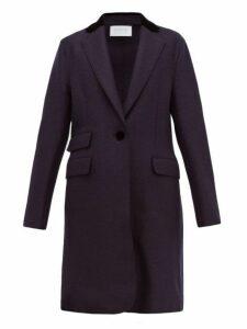 Harris Wharf London - Velvet-collar Pressed Virgin Wool-felt Topcoat - Womens - Navy Multi
