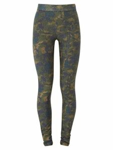 Ganni - Metallic Camouflage-jersey Leggings - Womens - Khaki