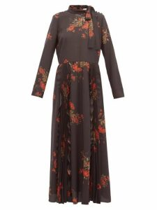 REDValentino - Floral-print Pussy-bow Crepe Dress - Womens - Black Multi