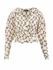 Isabel Marant - Blinea Geometric-print Stretch-silk Wrap Top - Womens - Ivory Multi
