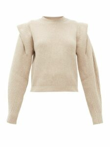 Isabel Marant - Bolton Pintucked Shoulder Cashmere Blend Sweater - Womens - Ivory