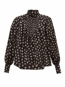Isabel Marant - Candice Floral-print Silk Blouse - Womens - Black Print