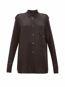 Ann Demeulemeester - Nanette Dropped Pocket Satin Shirt - Womens - Black