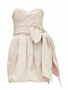 Alexandre Vauthier - Gathered Bow-embellished Taffeta Mini Dress - Womens - Light Pink