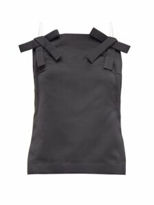 No. 21 - Bow-strap Duchess-satin Top - Womens - Black
