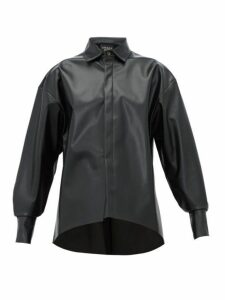 A.w.a.k.e. Mode - Business Woman Faux-leather Shirt - Womens - Black