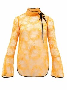 Mame Kurogouchi - River-lace High-neck Blouse - Womens - Orange