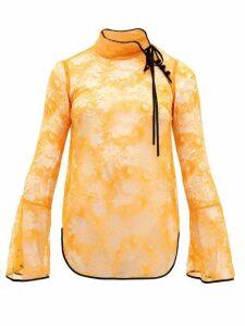 Mame Kurogouchi - River-lace High-neck Blouse - Womens - Orange