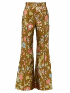 Peter Pilotto - High-rise Floral-brocade Flared Trousers - Womens - Green Multi
