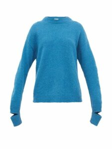 Tibi - Slit Cuff Alpaca Blend Sweater - Womens - Blue