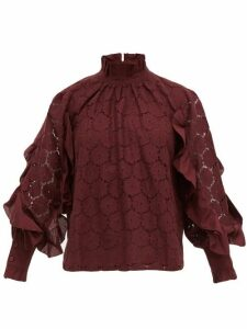 Apiece Apart - Rio Broderie-anglaise Cotton-blend Blouse - Womens - Burgundy