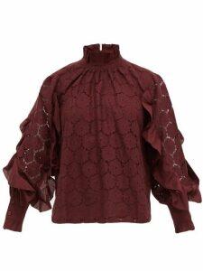 Apiece Apart - Rio Broderie-anglaise Cotton-blend Blouse - Womens - Burgundy