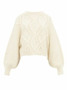 Mr Mittens - Balloon-sleeve Cropped-hem Cabled-wool Sweater - Womens - Cream