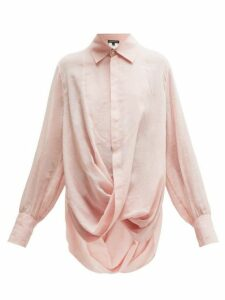 Ann Demeulemeester - Tiriel Twisted Cotton Blend Voile Blouse - Womens - Light Pink