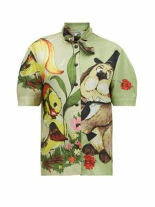 Symonds Pearmain - Dog-print Silk-satin Shirt - Womens - Multi