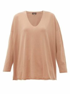 Eskandar - V-neck Cashmere Sweater - Womens - Camel