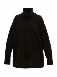 Eskandar - Roll Neck Cable Knit Cashmere Sweater - Womens - Black