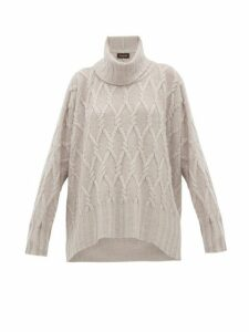 Eskandar - Roll Neck Cable Knit Cashmere Sweater - Womens - Light Grey