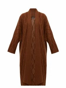 Eskandar - Cabled Waterfall Lapel Cashmere Cardigan - Womens - Brown