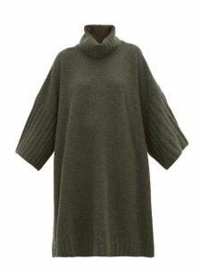 Eskandar - Moss-stitched Roll-neck Cashmere Poncho - Womens - Khaki