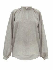 Raey - Gathered Balloon-sleeve Floral-print Silk Top - Womens - Grey Print