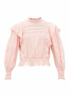 Isabel Marant Étoile - Perla Ruffled Striped Cotton Blouse - Womens - Pink
