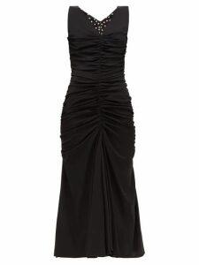 Dolce & Gabbana - Ruched-front Silk-blend Dress - Womens - Black