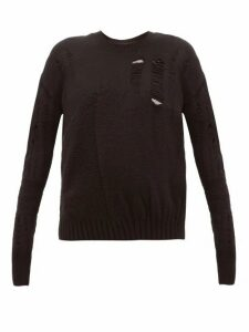 Ann Demeulemeester - Distressed Wool Blend Sweater - Womens - Black