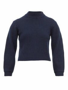 Tibi - Neck-slit Balloon-sleeve Ribbed Wool Sweater - Womens - Navy
