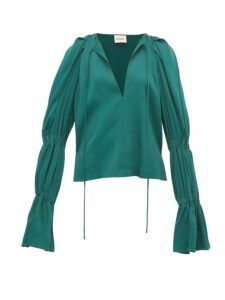 Khaite - Cortez Shirred-sleeve Satin Blouse - Womens - Green