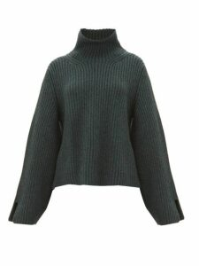 Khaite - Molly Bowed Sleeve Cashmere Roll Neck Sweater - Womens - Green