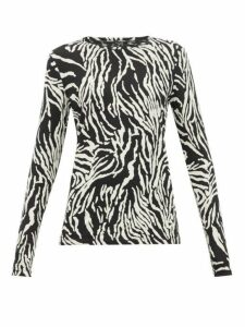 Proenza Schouler - Zebra Print Cotton Jersey Long Sleeve T Shirt - Womens - Black White