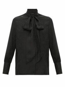 Nili Lotan - Avina Pussy-bow Cheetah-jacquard Silk Blouse - Womens - Black