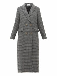 Ganni - Checked Wool-blend Longline Coat - Womens - Dark Grey