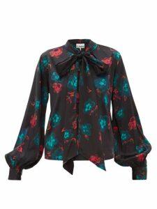 Ganni - Pussybow Floral-print Silk-blend Satin Blouse - Womens - Black Multi