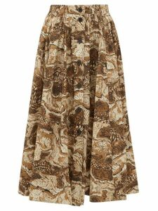 Ganni - Tiger's Eye-print Button-down Cotton Midi Skirt - Womens - Beige
