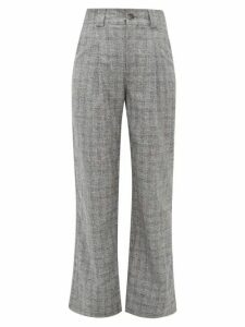 Ganni - Checked High-rise Straight-leg Crepe Trousers - Womens - Grey