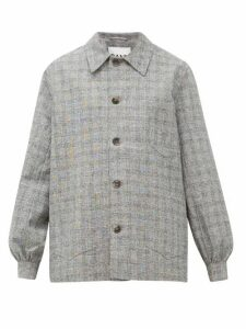 Ganni - Blouson-sleeve Checked Shirt Jacket - Womens - Grey