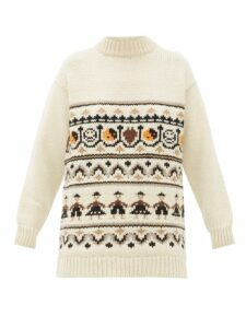 Ganni - High-neck Wool-blend Jacquard-knit Sweater - Womens - Ivory Multi