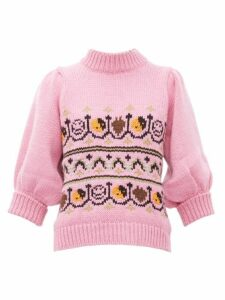 Ganni - Intarsia-knitted Wool-blend Sweater - Womens - Pink