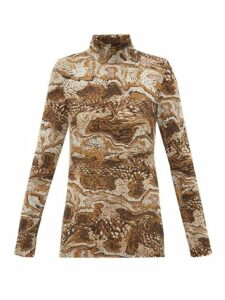 Ganni - Tiger's Eye-print Roll-neck Mesh Top - Womens - Brown Multi