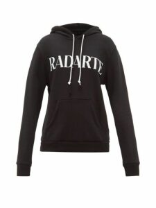 Rodarte - Logo-print Cotton-blend Jersey Hooded Sweatshirt - Womens - Black White