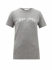 Rodarte - Heather Logo Print Jersey T Shirt - Womens - Grey Multi