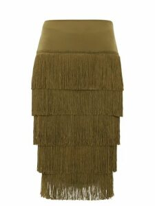 Norma Kamali - Tiered-fringe Stretch-jersey Midi Skirt - Womens - Khaki