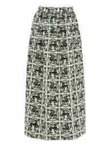 Edward Crutchley - Griffin-roundel Print Merino Wool-twill Midi Skirt - Womens - White Black