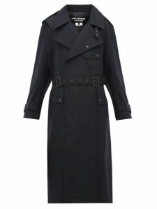 Junya Watanabe - Contrast-panel Wool Trench Coat - Womens - Navy Multi