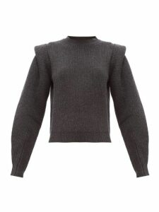 Isabel Marant - Bolton Pintucked-shoulder Cashmere-blend Sweater - Womens - Dark Grey