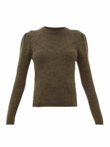 Isabel Marant - Hynn Gathered Sleeve Wool Blend Sweater - Womens - Khaki