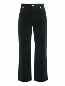 A.p.c. - Sailor High Rise Cropped Corduroy Trousers - Womens - Dark Green