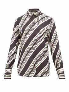 Joseph - Doy Striped Silk-satin Shirt - Womens - Black White